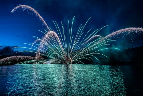 Underwater fireworks on Ashinoko Lake